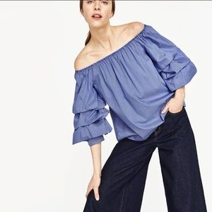 Zara Woman Blue Balloon Tiered Sleeve Top